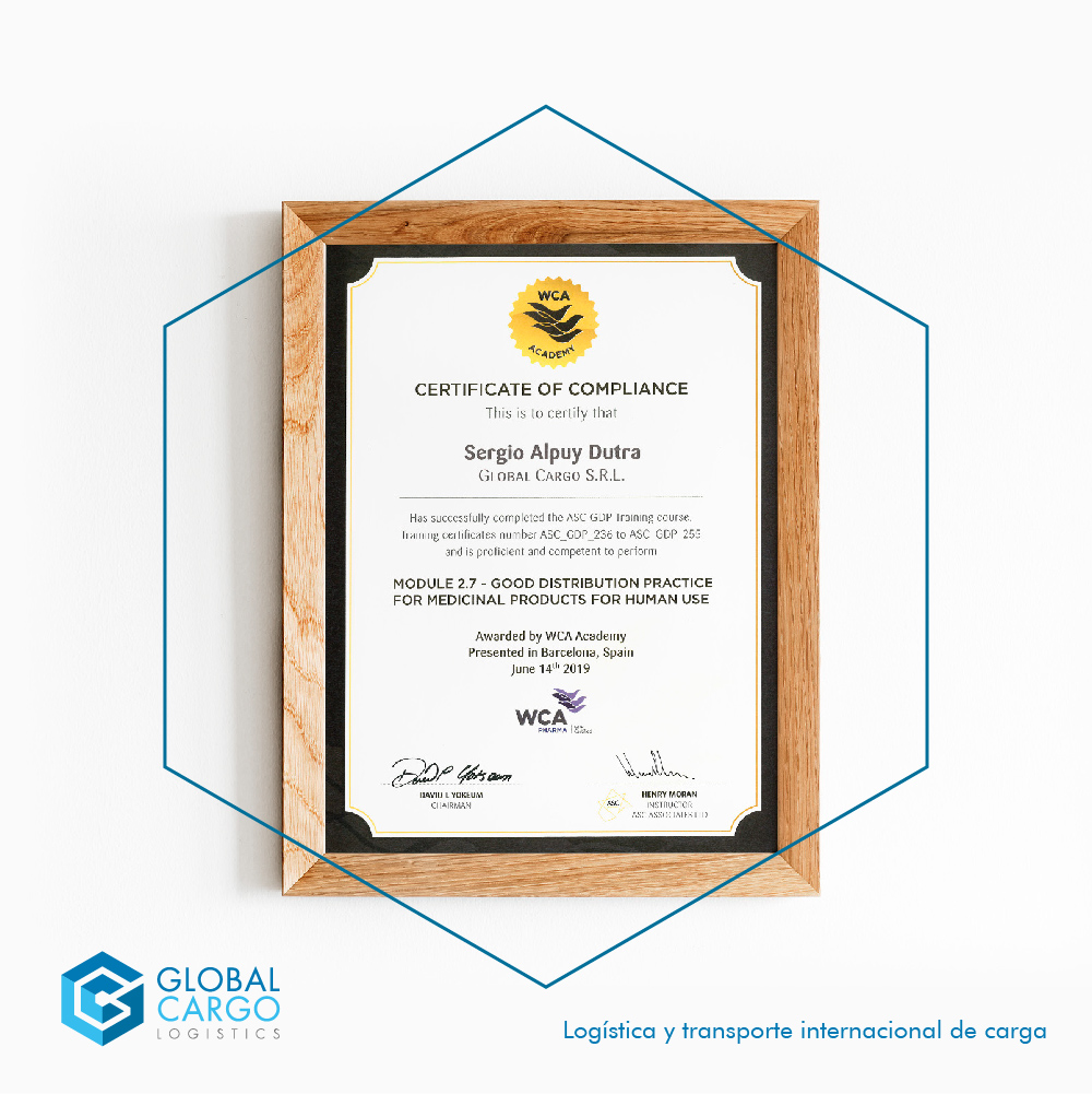 Global Cargo Logistics acquires certification that accredits it as qualified in Pharma